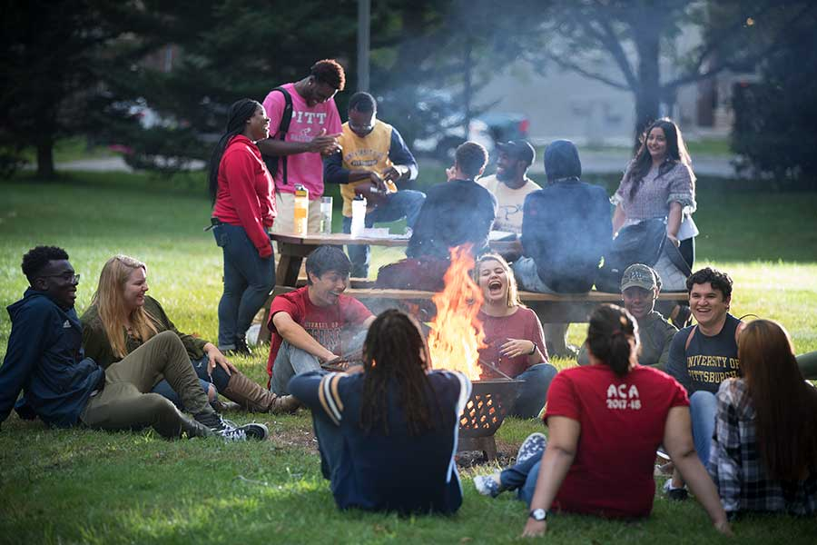 Students at fire pit